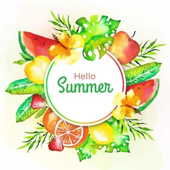 Акварель привет лето с фруктами