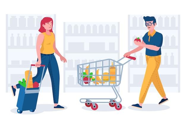 健康的な商品を買い物している人
