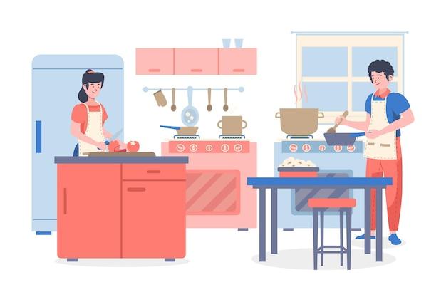 キッチンで料理をする人