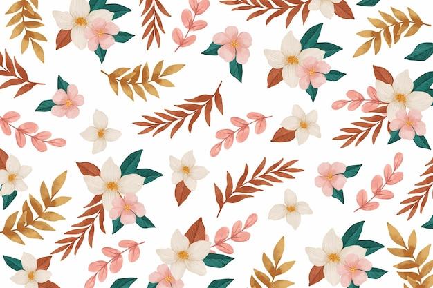ピンクの花の水彩画の背景
