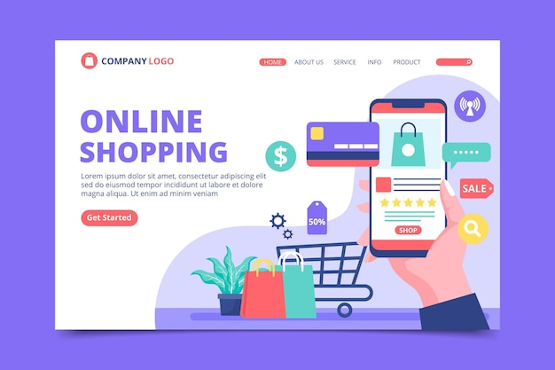 フラットデザインのショッピングオンラインランディングページ