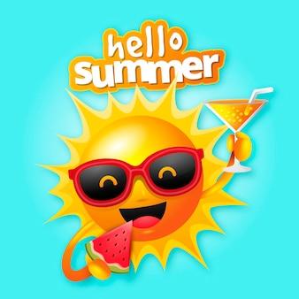 Реалистичное привет лето с солнцем и коктейлем