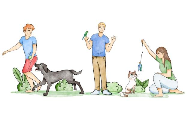 Люди играют с домашними животными на улице