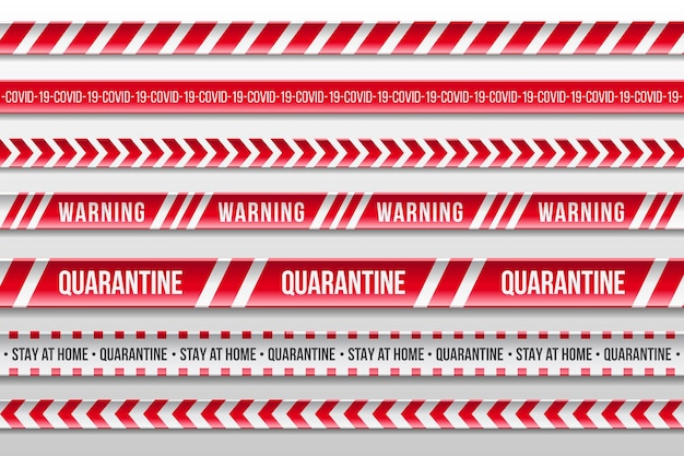 Реалистичные красные и белые предупреждающие карантинные полосы
