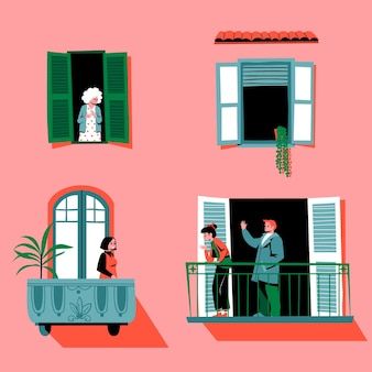 Старейшины и молодые люди проводят время на балконах