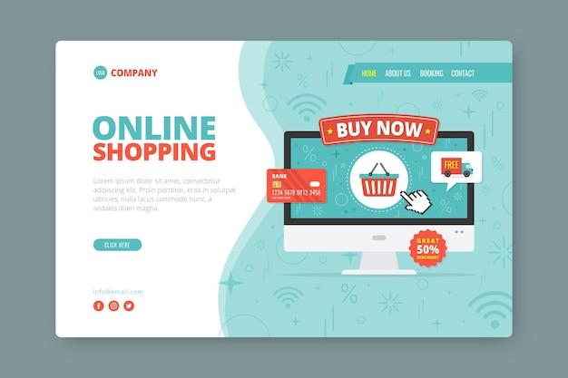 Плоский стиль покупки онлайн целевая страница