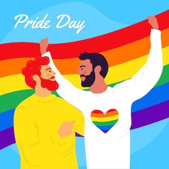 同性愛者のカップルとプライド日コンセプト