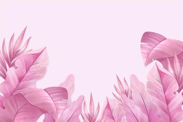 ピンクの熱帯の葉の背景