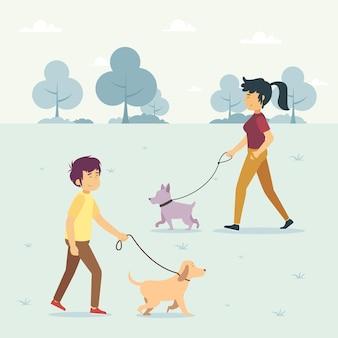 犬のイラストを歩く人