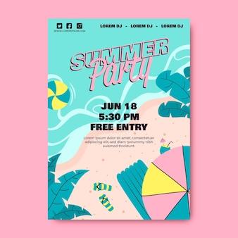 Шаблон плаката летней вечеринки с пляжем