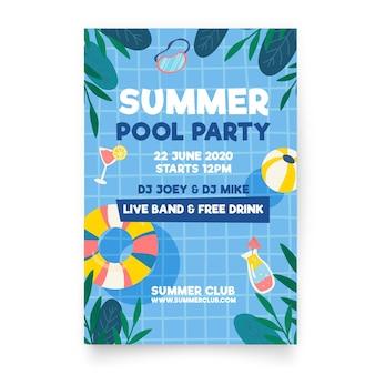 フラットなデザインの夏のパーティーのポスター