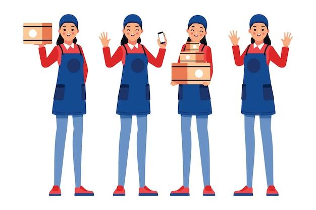 制服を着た宅配労働者