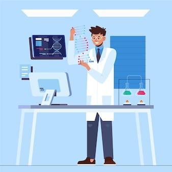 Исследователь держит молекулы днк