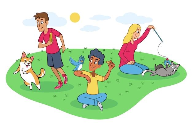 Люди играют со своими питомцами