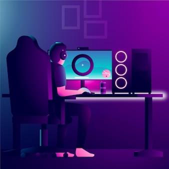 Персонаж играет в видеоигры на современном компьютере