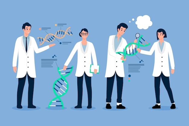 Ученые персонажей, держащие молекулы днк