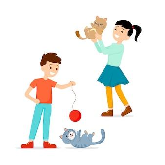 Люди проводят время и играют с кошками