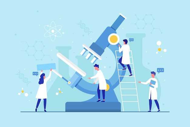 顕微鏡でフラットなデザイン科学の概念
