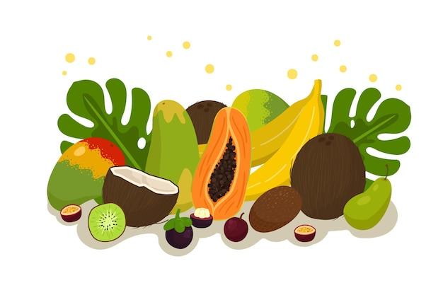 Здоровая пища фон с фруктами