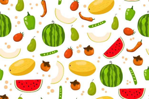 Здоровая пища фон с фруктами и овощами