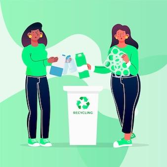 正しくリサイクルしているイラスト付きの人々