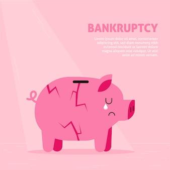 フラットなデザインの破産の概念
