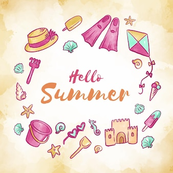 Акварель привет лето концепция