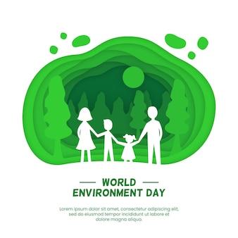 Всемирный день окружающей среды в бумажном стиле