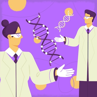 Ученые, держащие молекулы днк