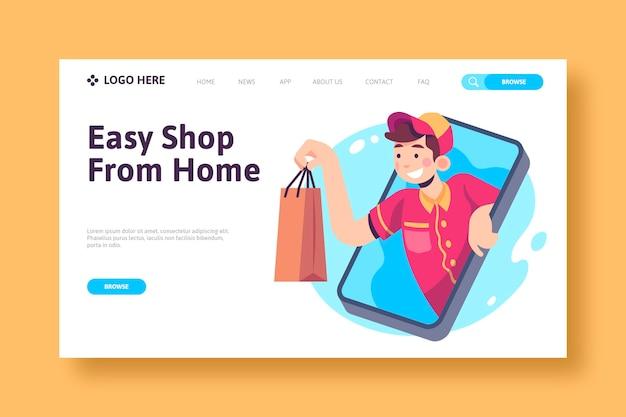 Покупки онлайн концепции целевой страницы