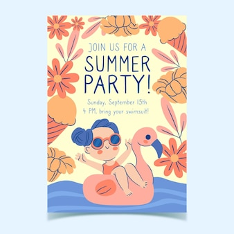 Ручной обращается летняя вечеринка флаер шаблон