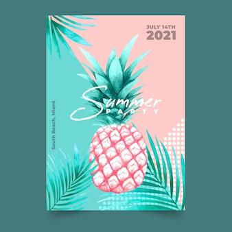 Шаблон плаката тропической вечеринки с ананасом