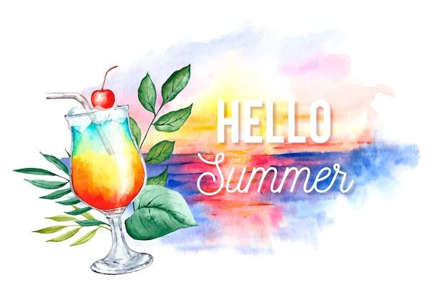 Акварель привет лето с пляжем и коктейлем
