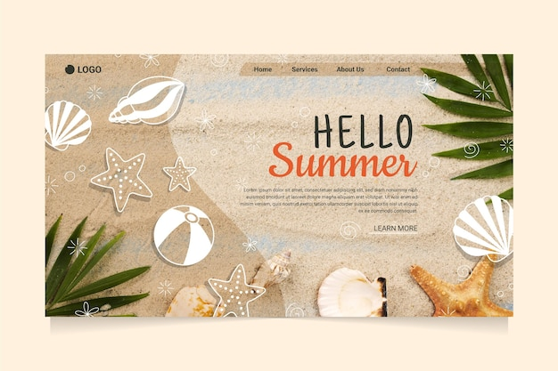 こんにちはビーチと貝殻の夏のランディングページ