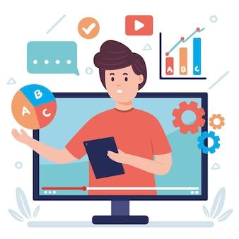 Плоский дизайн иллюстрация онлайн курс с человеком
