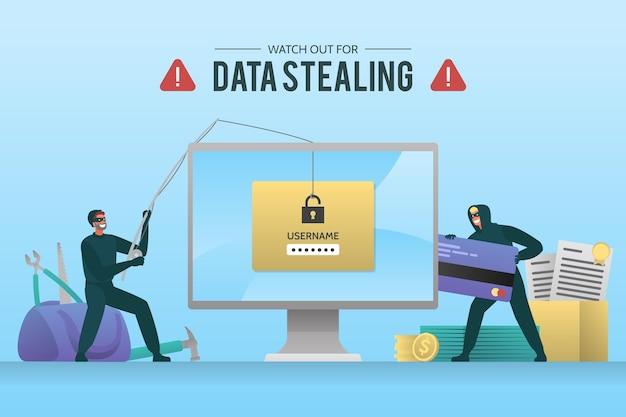 データサイバー攻撃のコンセプトを盗む