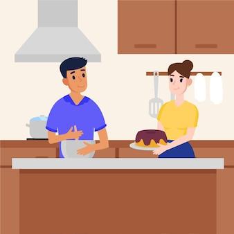 自宅で料理のカップル
