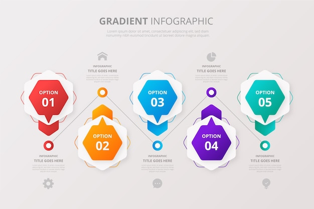 細部が異なるグラデーションインフォグラフィック