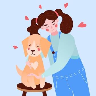 女の子と犬と一緒にペットのコンセプトを採用