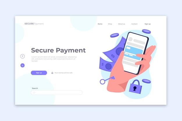 安全な支払いランディングページのコンセプト