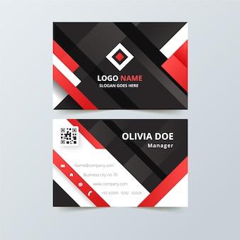 Визитная карточка с красными абстрактными формами