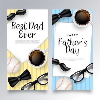 Реалистичные отцов день баннеров шаблон