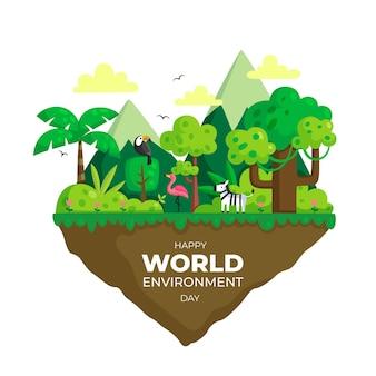 Всемирный день окружающей среды с плоским дизайном