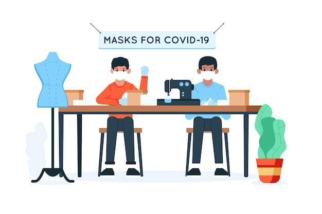 マスクを縫う人々