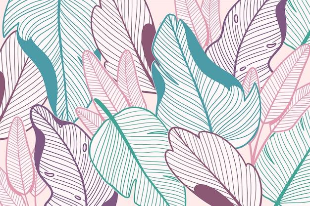 パステルカラーデザインの線形熱帯の葉