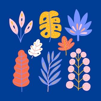 抽象的な熱帯の葉セット