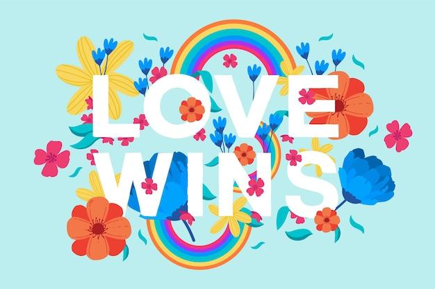 Красочная любовь побеждает надписи