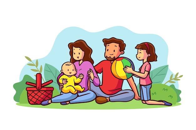 屋外で一緒に時間を楽しんでいる家族