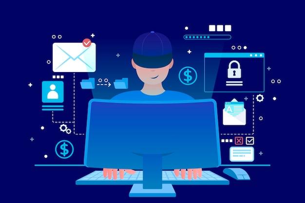 Концепция кражи данных проиллюстрирована