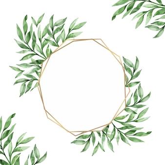 Листья с золотой рамкой, акварельный дизайн